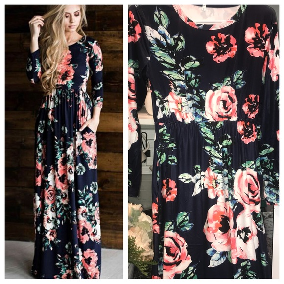 48464917fd Long sleeve floral maxi dress navy blue w pockets